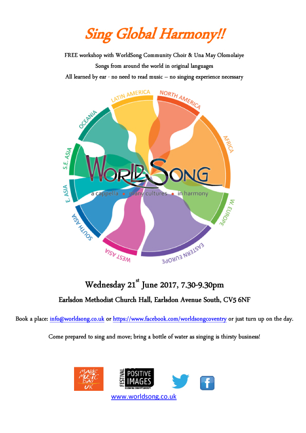 Sing Global Harmony! Wednesday 21 June, 7:30pm